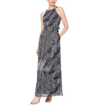 Sl Fashions Printed Tie-Waist Maxi Dress