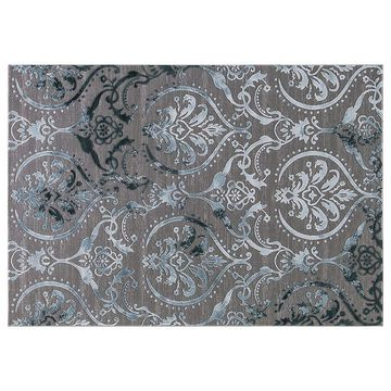 Concord Global Thema Large Damask Rug, Turquoise/Blue, 8X10.5 Ft