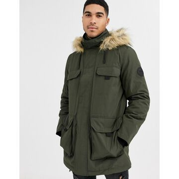 New Look traditional parka in khaki-Green