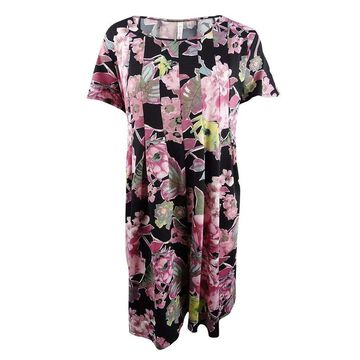 NY Collection Women's Plus Size Printed Fit & Flare Dress - Petal Overlook