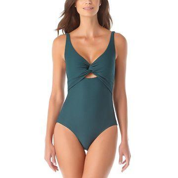 Anne Cole Women's One Piece Swimsuits EUCA - Eucalyptus Keyhole Twist-Front One-Piece - Women