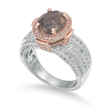 Suzy Levian Two-Tone Sterling Silver 4.65 cttw Smoky Quartz Ring - Brown