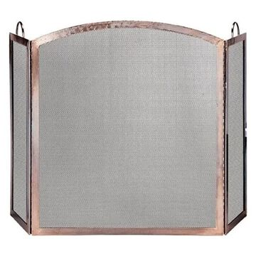 Uniflame 3 Panel Antique Copper Screen With Arched Center Panel