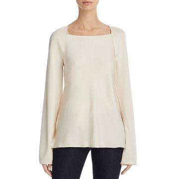 Elizabeth and James Womens Danel Satin Long Sleeve Blouse