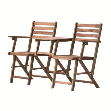 A&B Home 2 Stackable Brown Wood Frame Stationary Chaise Lounge Chair(s) with Solid Seat | KGF38466