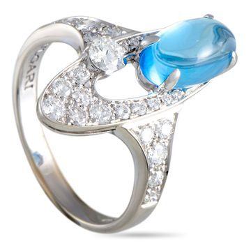 Bvlgari Elysia White Gold Diamond Pave and Oval Topaz Ring