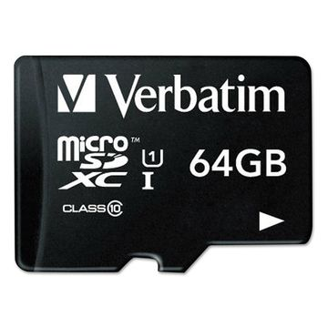Verbatim microSDXC Memory Card with SD Adapter Class 10 64GB 44084