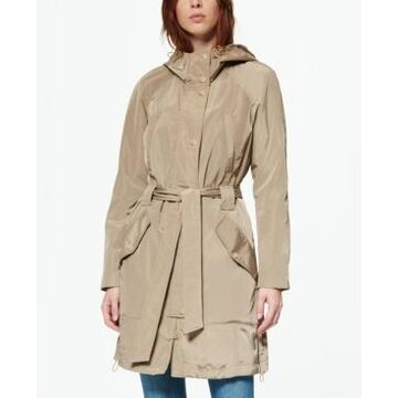 Marc New York Women's Belted Poly Trench Rain Coat