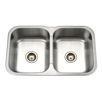 HOUZER Medallion Undermount 31.5-in x 20.1875-in Lustrous Satin Double Equal Bowl Kitchen Sink Stainless Steel | MGD-3120-1