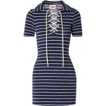 Solid & Striped - The Polo Striped Cotton-blend Terry Mini Dress - Navy