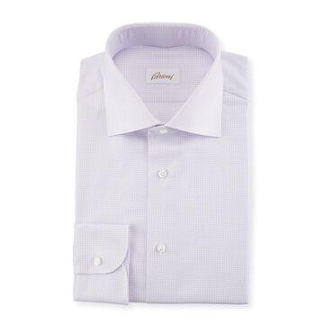Basketweave Cotton-Silk Dress Shirt
