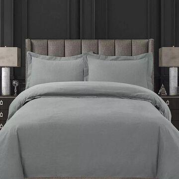 Tribeca Living Ultra-Soft Cotton Flannel Solid Oversized Duvet Cover Set, Light Grey, Queen