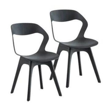 Porthos Home Maida Kitchen Chairs Set of 2, PVC Open Back Design
