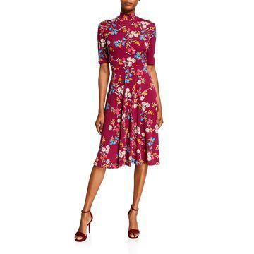 Floral Mock-Neck Short-Sleeve Dress