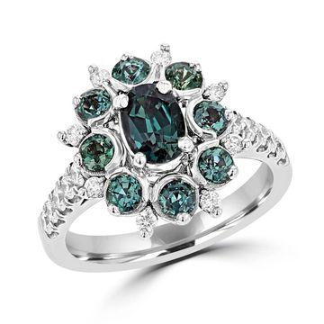La Vita Vital 18K White Gold, Fine Brazilian Alexandrite 1.99cts & Diamond 0.48cts TDW (SI1-VS, G-H) Ring - Green