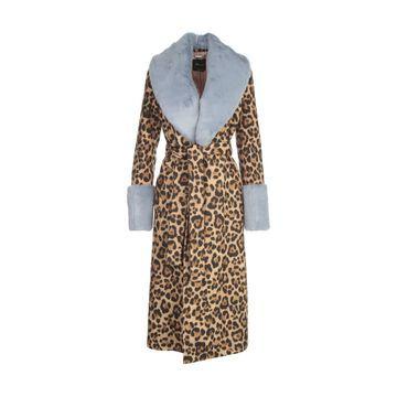 Blumarine Animalier Printing Long Coat W/ecu Fur Collar