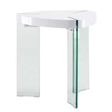 ACME FURNITURE Noland White High Gloss and Clear Glass Wood Veneer End Table   84922