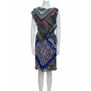 Silk Knee-Length Dress Blue