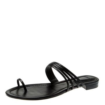 Alexandre Birman Black Leather Strappy Flat Sandals Size 38.5