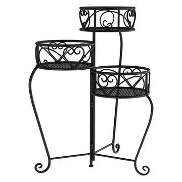 Pure Garden 3-Tier Indoor Outdoor Folding Plant Stand, Black