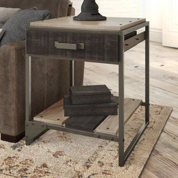 Bush Furniture Refinery End Table with Drawer in Rustic Gray