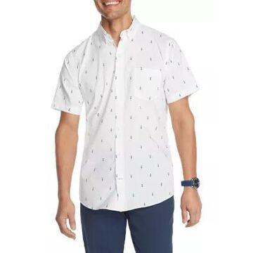 Izod Men's Advantage Performance Hula Dancer Print Button Down Short Sleeve Shirt - -