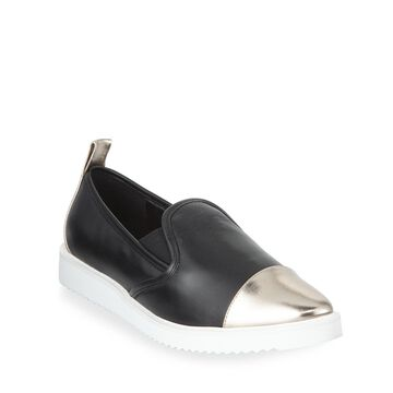 Cler Metallic Leather Pointy-Toe Sneakers