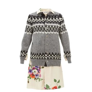 Junya Watanabe - Wool And Floral-print Satin-panelled Cardigan - Womens - Grey Multi