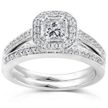 Annello by Kobelli 14k Gold 5/8ct TDW Princess Diamond Halo Bridal Ring Set (4.5 - White)