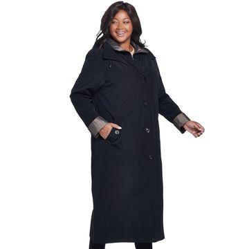Plus Size Gallery Hooded Long Rain Jacket