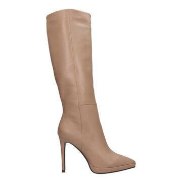 Lola Cruz High Heels Boots In Taupe Leather