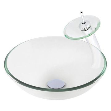 Bonificare Clear Glass Vessel Sink Set, Chrome