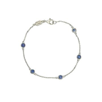 Suzy Levian Silver Diamond & Sapphire Station Bracelet