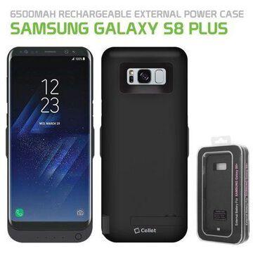 Cellet 6500mAh Rechargeable External Power Case for Samsung Galaxy S8 Plus - Black
