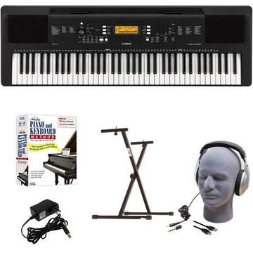 Yamaha PSR-EW300 EPY Educational Keyboard Pack with Power Supply, Bolt-On Stand, Headphones, USB Cable, and Instructional Software