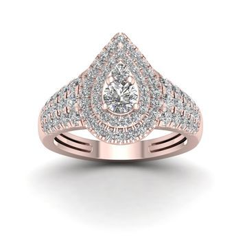 De Couer 1ct TDW Diamond Halo Engagement Ring - Pink