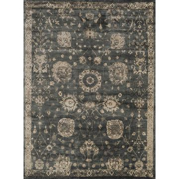 Alexander Home Natalie Traditional Distressed Floral Area Rug (Charcoal/Beige 9'2