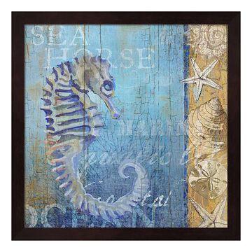 "Metaverse Art Sea Horse & Sea Framed Wall Art, Brown, 12""X12"""