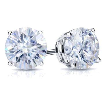 Auriya 1 carat DEW Round Moissanite Stud Earrings 18k Gold - 5 mm, Push-Backs