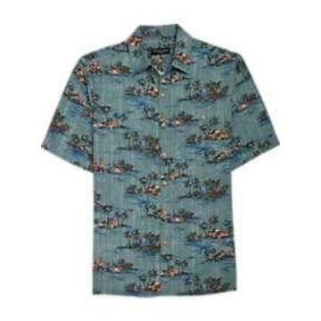 Pronto Uomo Teal Tropical Camp Shirt