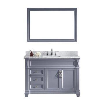 Virtu USA Victoria 48-in Gray Undermount Single Sink Bathroom Vanity with Italian Carrara White Marble Top (Mirror Included)