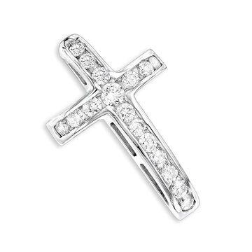Luxurman 14k Gold 0.59ct Round Diamond Necklace Cross Pendant with Chain