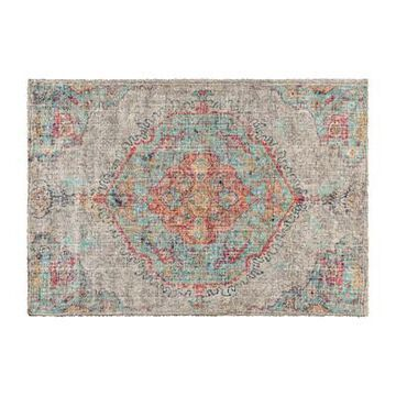 Flash Furniture Distressed Medallion Polyester 5 x 7 Rectangle Rug, Gray Multi (RCEG20210257GR), Grey | Quill
