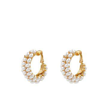 pearl-cluster clip-on hoop earrings