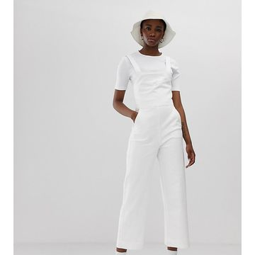 Weekday wide leg denim sleeveless jumpsuit in white