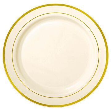 Amscan Cream 12-in. Premium Plastic Plates with Gold Trim