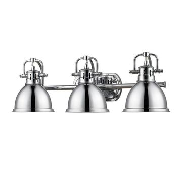Golden Lighting Duncan 3-Light Chrome Transitional Vanity Light