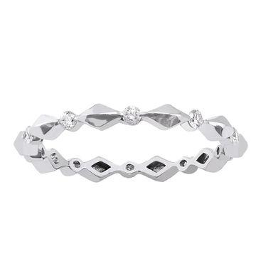 10k White Gold 1/4ct TDW Diamond Eternity Wedding Band Ring by Beverly Hills Charm