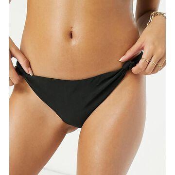 Wolf & Whistle knot high leg bikini bottom in black