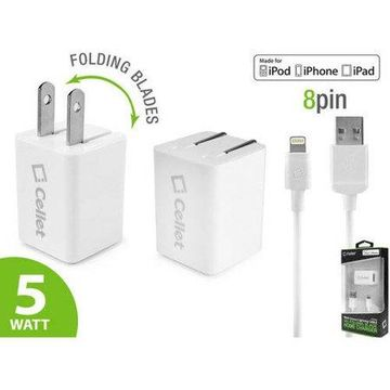 Cellet 5 Watt (1 Amp) with Folding Blades Single Port Home Charger (Lightning Cable Included, Apple MFI Certified)